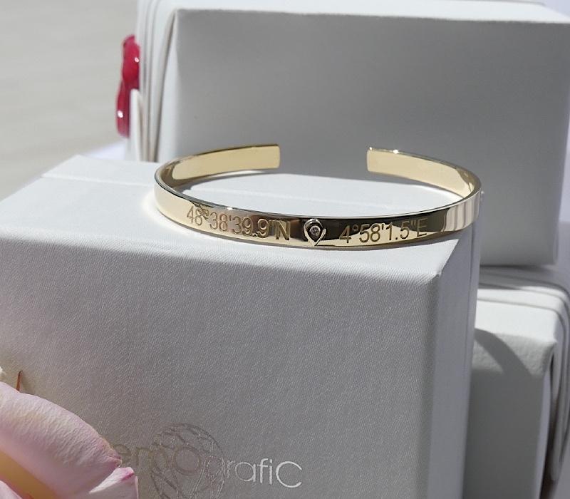 Bracelet Jonc Or et Diamant Gemografic