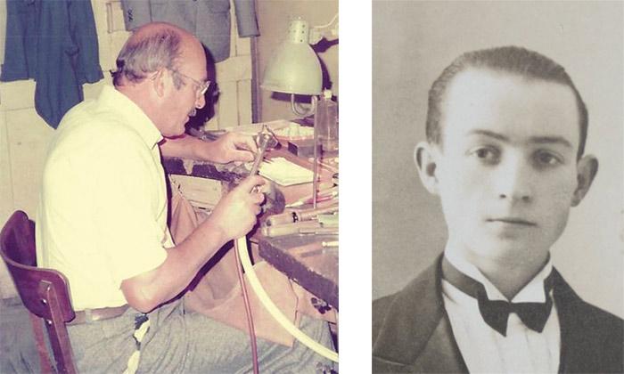 Guy Juhel dans son premier atelier (à gauche) Louis Juhel médaille d'or de la bijouterie (à droite)