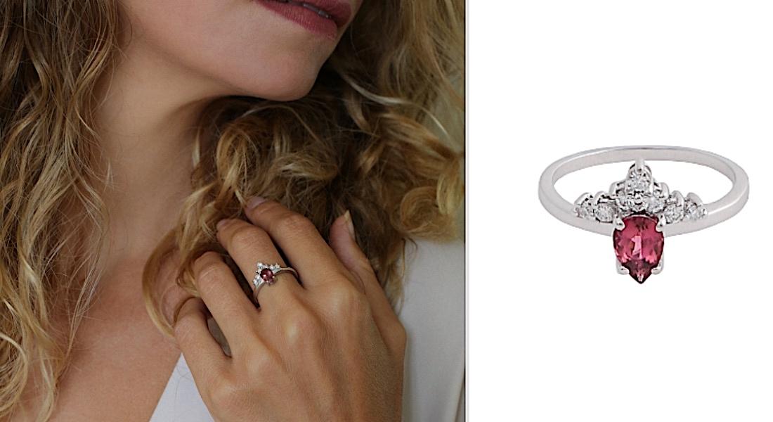 bague de fiançailles tourmaline rose et diamants