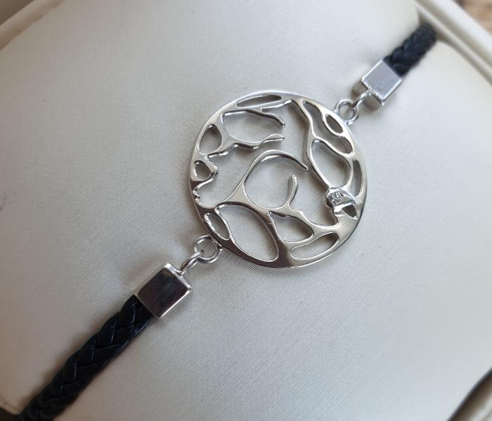 bracelet pour homme cuir et argent