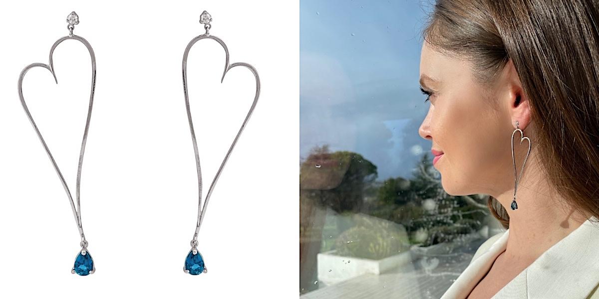 Boucles d'oreilles pendantes Topaze Bleue