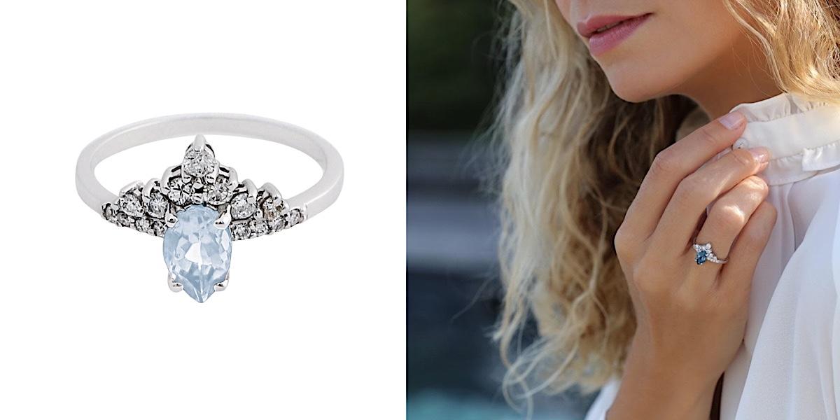 Bague de fiançailles Aigue Marine Diamants Or 18 carats