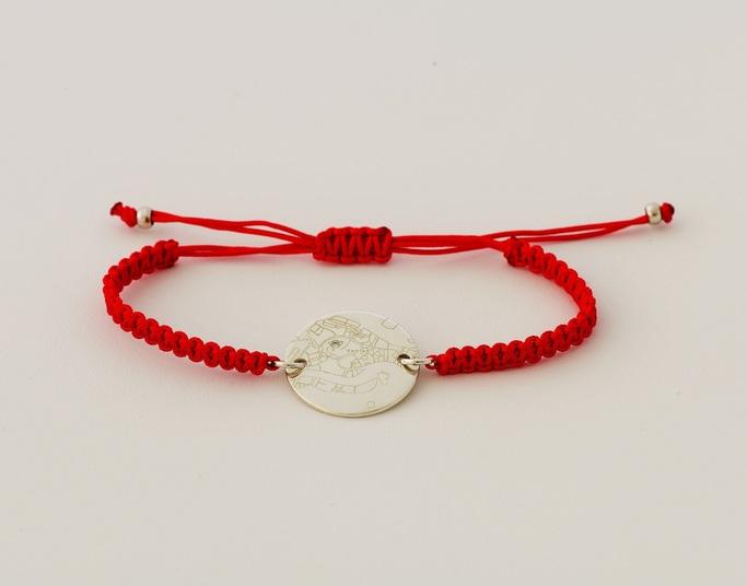 Bracelet Tressé Cordon Rouge Or blanc