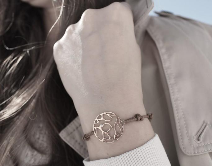 Medium 2fgemografic bracelet argent cuir diamant